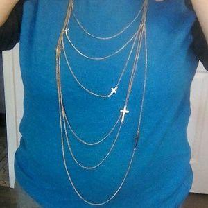 Jewelry - Multi Chain Gold Tone necklace w/Crosses EUC